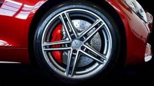 High Performance Brakes on red Mercedes